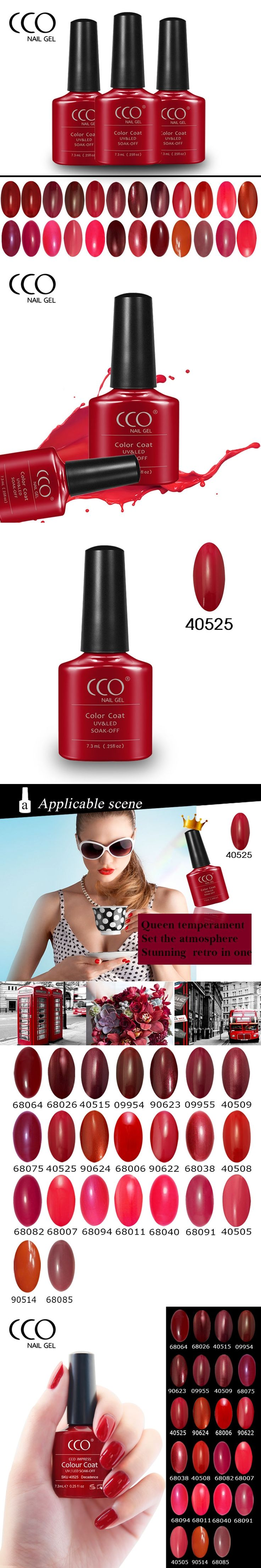 CCO IMPRESS Nail Gel Polish Red Color Series Gelpolish Solid Color Soak off LED UV Gel Nails Polish 23 Gorgeous Color Available
