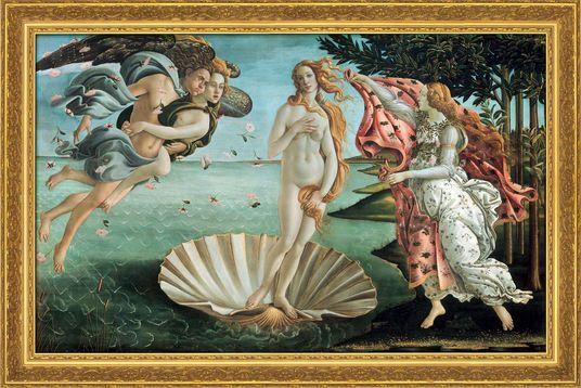 """Sandro Botticelli: Bild """"Die Geburt der Venus"""" (1484/86), gerahmt"""