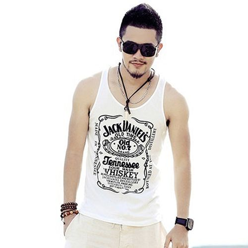 New Arrival Men's Fashion Punk Style Printing Sexy Vest
