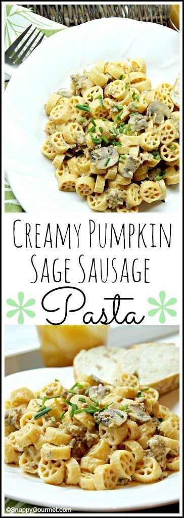 Creamy Pumpkin Sage Sausage Pasta recipe - easy homemade fall family dinner. SnappyGourmet.com