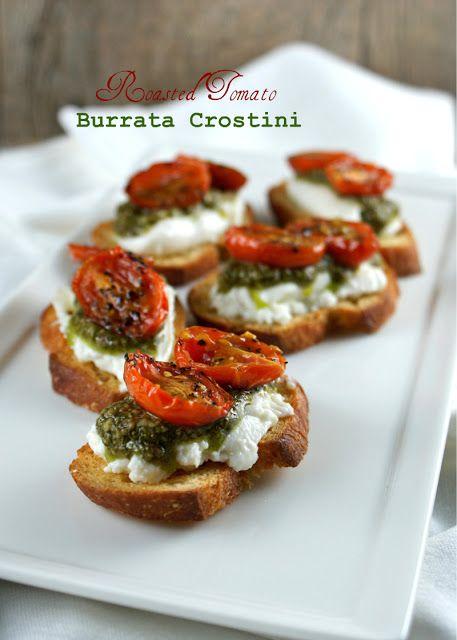 Authentic Suburban Gourmet: Friday Night Bites   Roasted Tomato Burrata Crostini