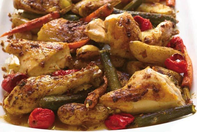 Roasted Garlic Chicken and Baby VegetablesHealthy Chicken Recipe, Baby Vegetables, Mothers Day, Garlic Chicken, Yummy Food, Summer Recipe, Roasted Garlic, Dinner Recipes, Recipe Chicken