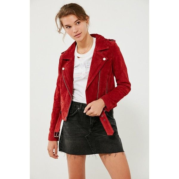 BLANKNYC Red My Mind Suede Moto Jacket (3,535 MXN) ❤ liked on Polyvore featuring outerwear, jackets, red suede jacket, red cropped jacket, cropped moto jacket, suede motorcycle jackets and moto jackets