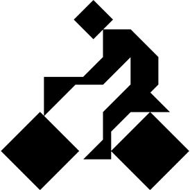 Tangram puzzle 87 : Cyclist - Visit http://www.tangram-channel.com/ to see the solution to this Tangram