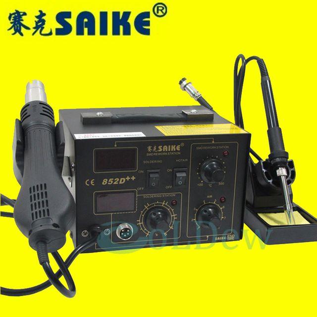 Granque qualité 220 V/110 V Saike 852D + + 2 en 1 Air Chaud Station de Reprise à souder station avec fournir pistolet à air rack
