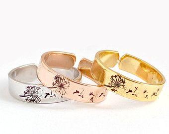 Auguro tarassaco anello gioielli anello anello di emilyjdesign