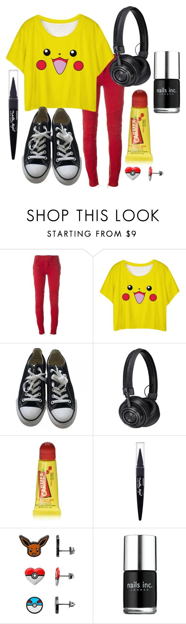 """Pikachu Casual"" by adventuretimekitty ❤ liked on Polyvore featuring Balmain, Converse, Master & Dynamic, Carmex, Maybelline, Ball, Nails Inc., yellow, black and red"
