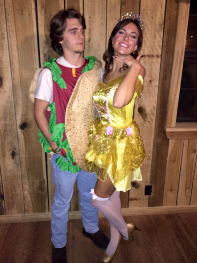 24 Couples Halloween Costumes That Are Anything But Cheesy | Huffington Post Taco Belle costume, clever costumes, punny Halloween costumes