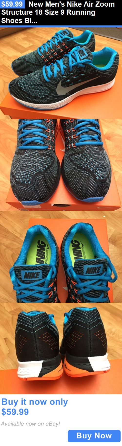 Men Shoes: New Mens Nike Air Zoom Structure 18 Size 9 Running Shoes Black Blue BUY IT NOW ONLY: $59.99