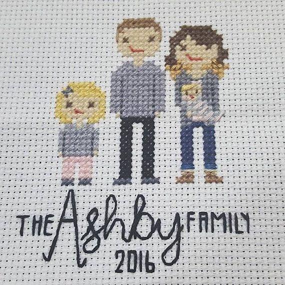 Custom Cross Stitch Family Portrait by StitchedByMaddie on Etsy