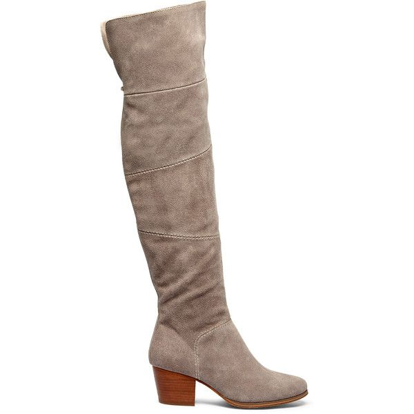 Sole Society Melbourne Patchwork Otk Boot (195 CAD) ❤ liked on Polyvore featuring shoes, boots, mushroom, side zip boots, above the knee boots, suede leather boots, stacked heel boots and over knee boots