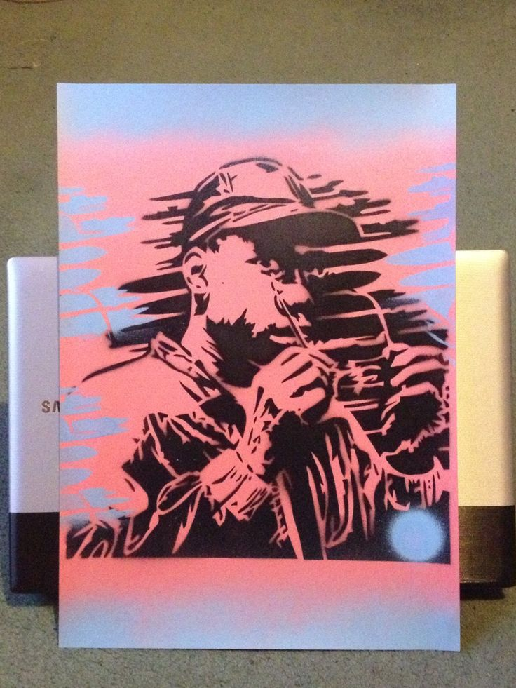 painting of krs one on cardjack of by AbstractGraffitiShop on Etsy, $30.00