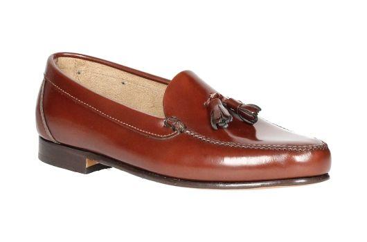 Castellano zapato castellano de piel marrÓn con borlas