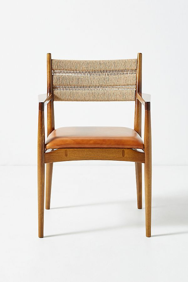 Soho Home X Anthropologie Roped Back Dining Chair Leather Dining