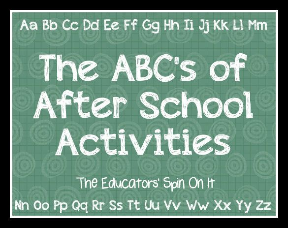The ABC's of After School Activities from The Educators' Spin On It.  From A to Z we've got you covered with ideas to fill your afternoons with fun and creative ideas with your kids!  {What is your child's favorite thing to do after school?}