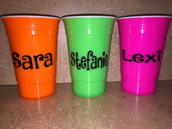 Personalized Neon Bachelorette Party Cups by SparkleandShineVinyl