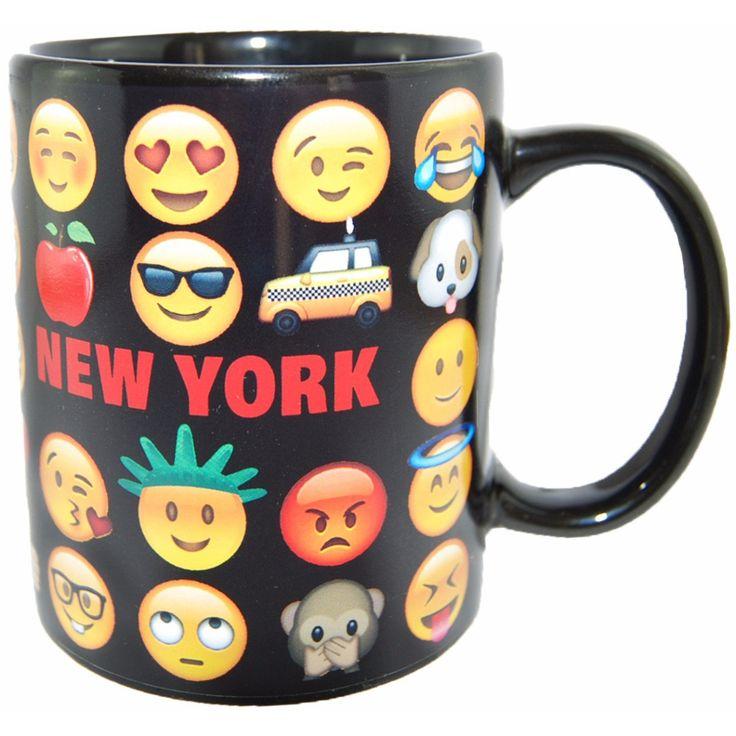 Original Emoji Coffee Mug With New York Personality- Comes in Yellow, Black and White