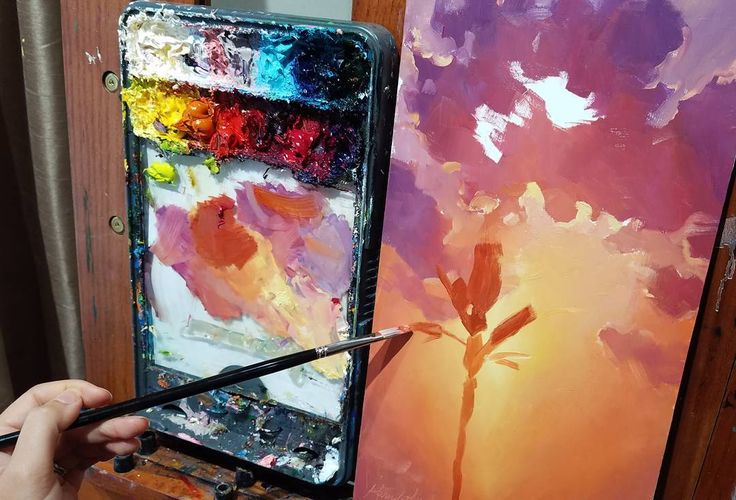 """Today I'm feeling a little more sunshiney... is that a word? Palm trees and sunrise on the easel. Love using these bright happy colors.  8x16"""" oil on wood panel in progress #originalart #oilpainting #artgallery #fineart #gamblincolors #rosemarybrushes #parallelpalette #sunset #sunriseart #artcollector #uplifting #happycolor #art #create #makeart #ontheeasel #artgalleries #hawaiiart #pnwartist"""