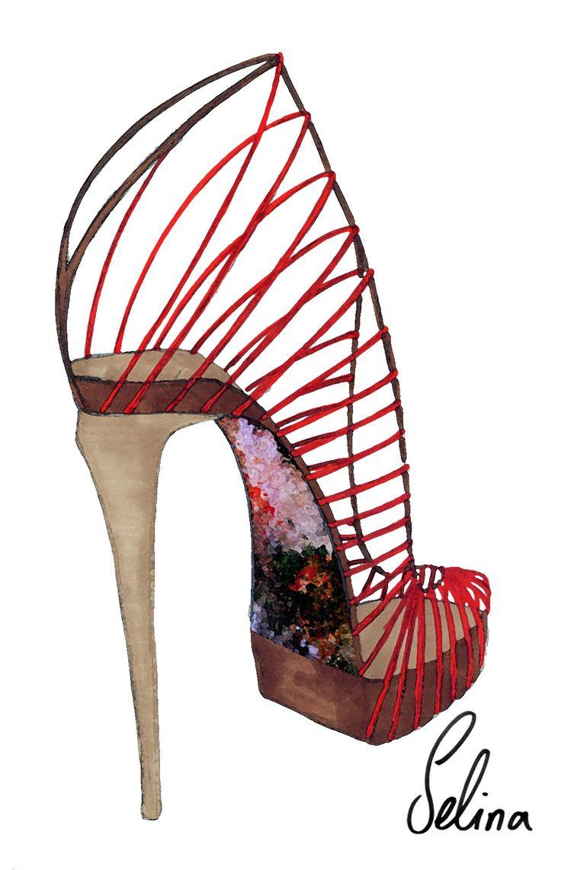 red ribbon high heel shoe sketch selina strunck shoesketch shoe sketching pinterest sketches