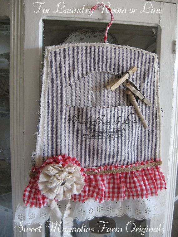 Vintage Clothespin Bag Blue Ticking stripe, Red Gingham, & Eyelet by SweetMagnoliasFarm, $28.50