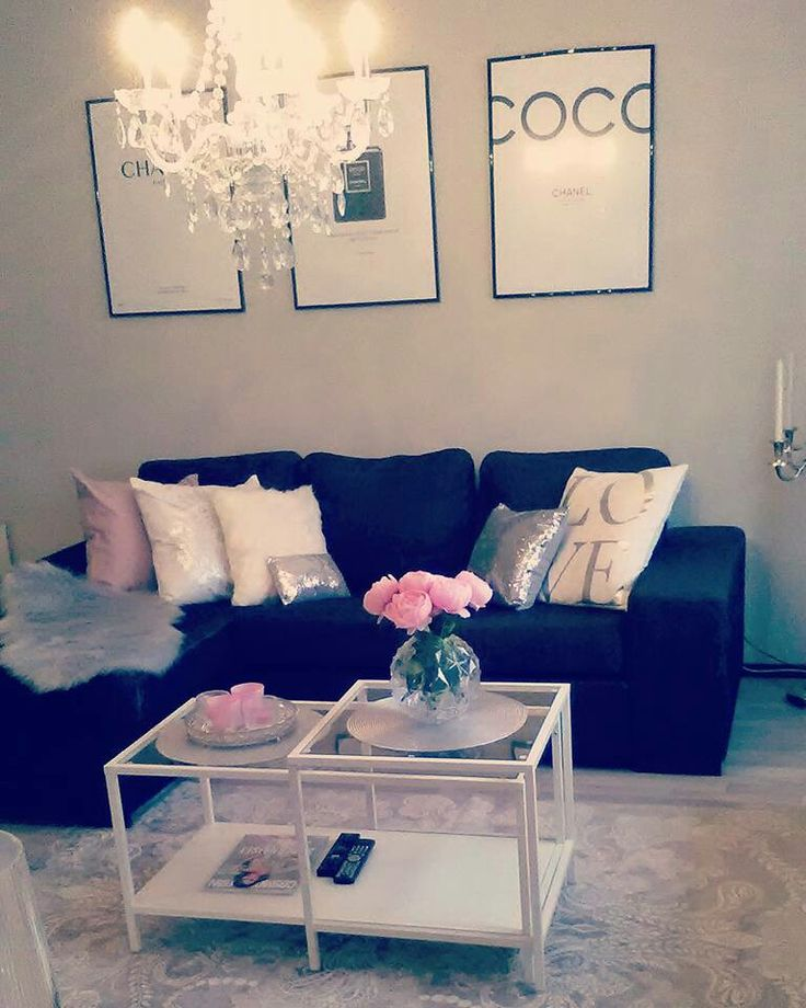 My living room. Added some pink details.