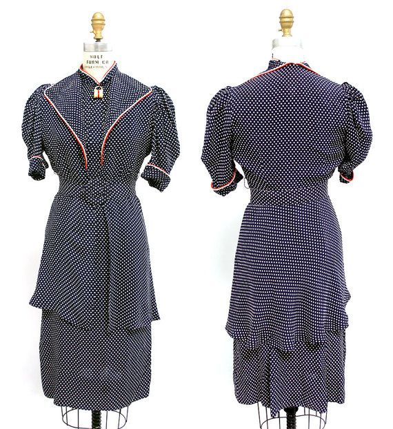 Vintage 1930s RARE Polka Dot Patriotic Dress  by WearingHistory