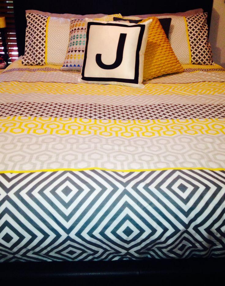 Yellow & grey doona cover | Home.Decor.Furniture | Pinterest