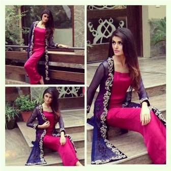Pakistani party wear in pink and purple. i like this combination of colors