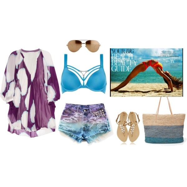 """Beach Ready, Beach Chic with DVF Tunic, Marlies Dekkers & Aviators"" by redboxlingerie on Polyvore"