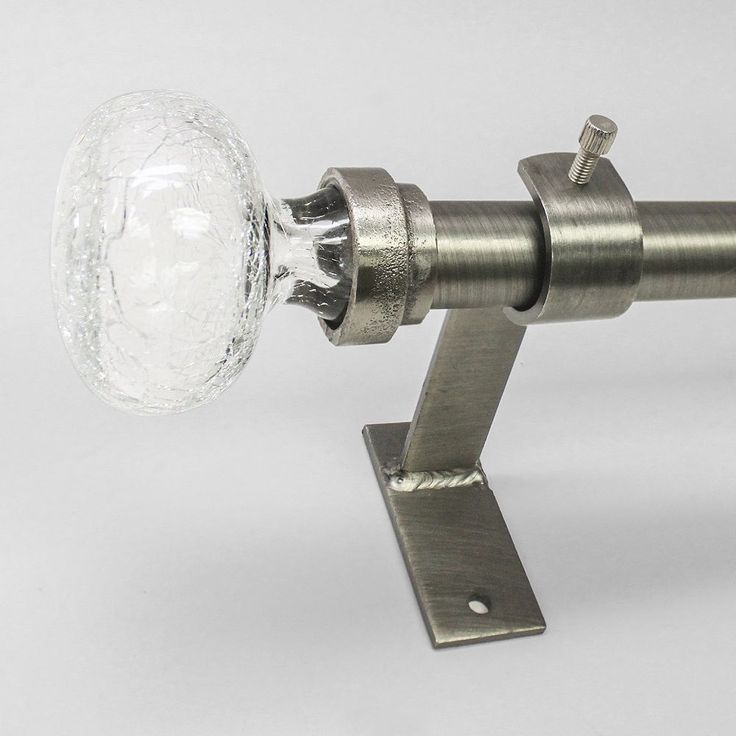 North Branch Crackle Glass Knob Adjustable Curtain Rod - 72'' - 144'', Grey