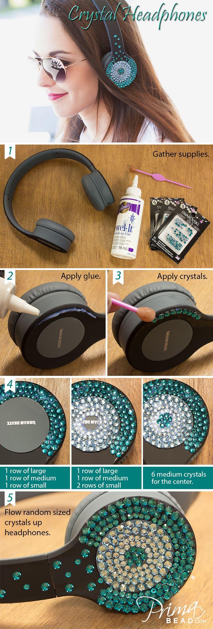 #Swarovski #headphones #bling #DIY #craft #bedazzle