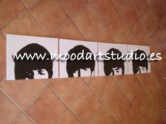 Cuadro de los beatles pop art en blanco y negro http www - Cuadro blanco y negro ...