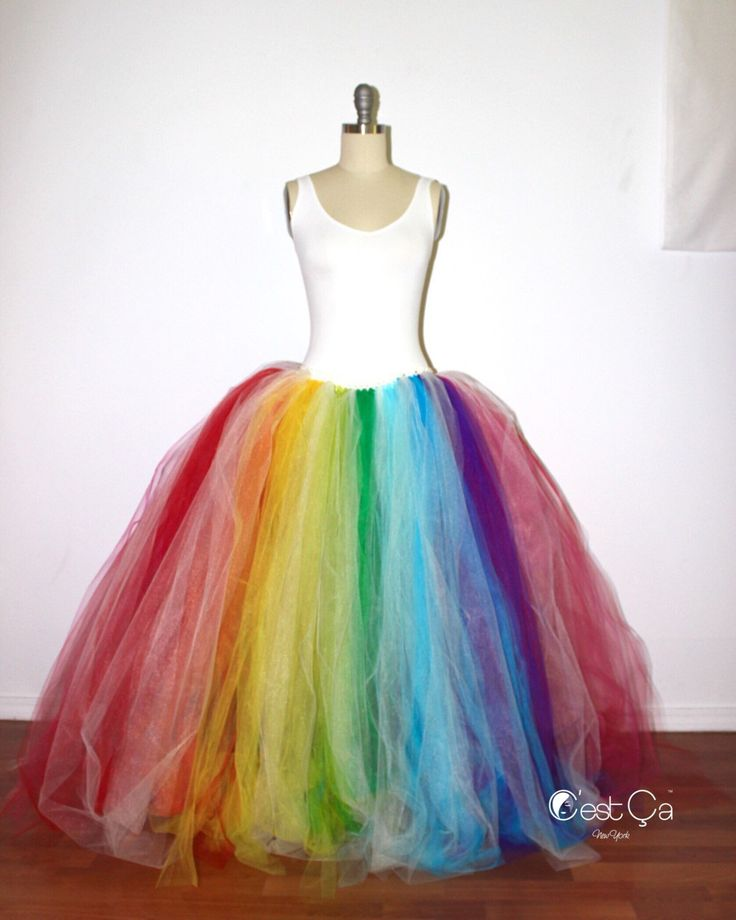 A personal favorite from my Etsy shop https://www.etsy.com/listing/288304387/rainbow-maxi-tulle-skirt-aletrnative