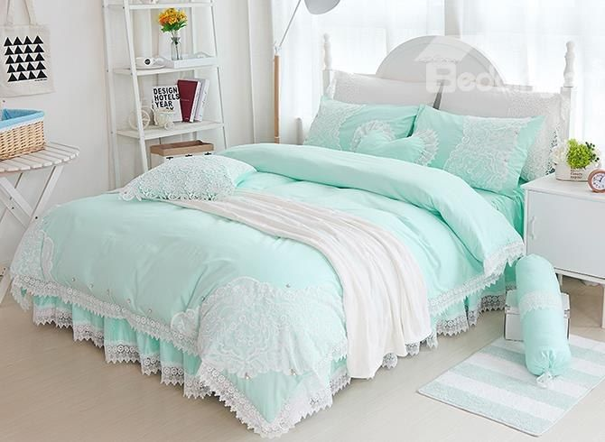 Fairy tales do come true. A stylish cotton bedding set is an easy way to shake up the decor of your bedroom. A cotton fabric which gives the bedding set a soft finish while providing durability and breathability. The lace edge and bright color will create a dreamy bed.Fancy Mint Green Lace Embellishment 4-Piece Cotton Duvet Cover Sets #bedding #bedroom #decor