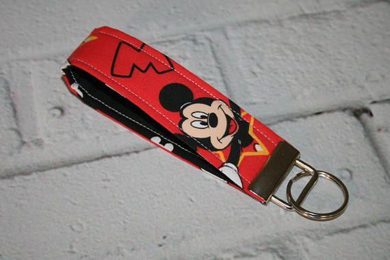 Mickey Mouse Fabric Key Fob Disney Key Fob 5 Inch Keyring Key Wristlet Key Loop Fabric Keychain Birthday Gift Teach Mickey Mouse Fabric Fobs Keyrings