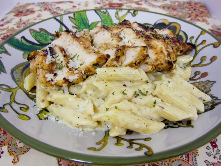 Grilled Cajun Ranch Chicken Pasta      This is one of our new favorite dishes! We wanted to try something new for dinner last weekend and came up with this grilled chicken pasta dish. One word - delicious! The chicken was so juicy and packed full of flavor. It would be good on its own, but the creamy pasta really put it over the top. Chicken Legs is still raving about this dish! We both agreed this was the best thing we ate last weekend. The sauce uses heavy cream, but y