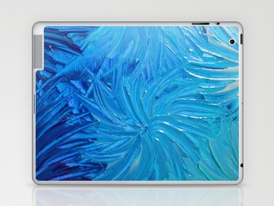 WATER FLOWERS 2 - Stunning Ocean Beach Waves Floral Abstract Acrylic Painting Turquoise Blue Navy Laptop & iPad Skin by EbiEmporium - $25.00