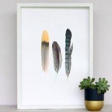 Metallic Feathers Art Print by Cloud 9 Creative