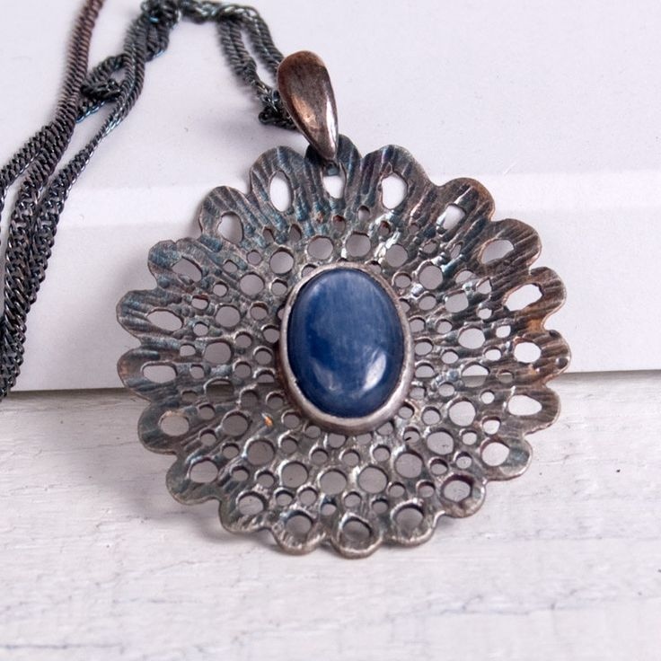 Silver lace with kyanite -necklace,A126, necklace, handmade, silver jewelery, for gift, for her, ,silver necklace, unique necklace by Artseko on Etsy