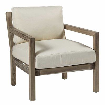 Summer Classics Charleston Club Patio Chair with Cushions Frame Color: Weathered Teak, Cushion Color: Tahiti Smoke