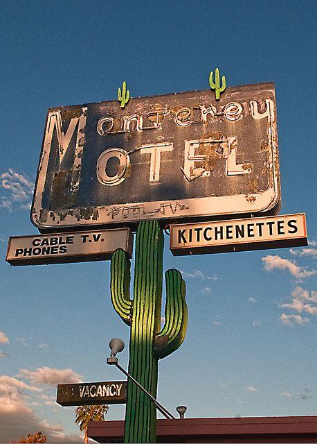 Vintage neon cactus sign - Monterey Motel