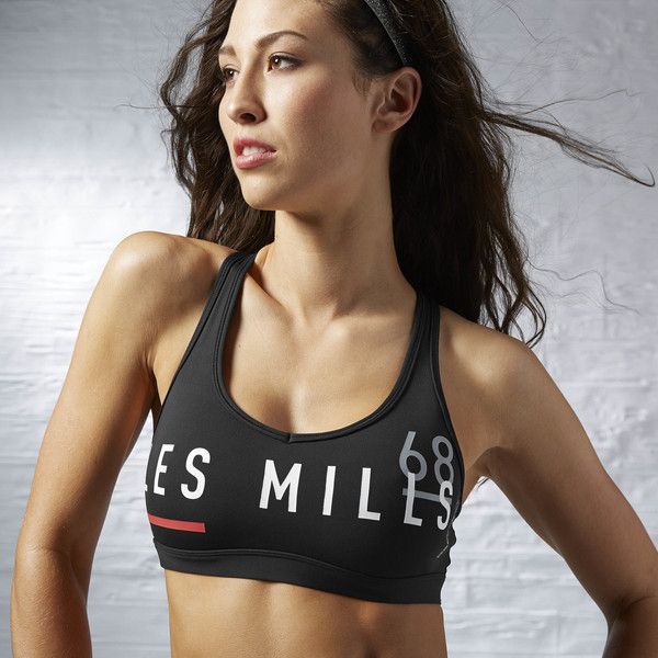Reebok LES MILLS Racer Bra ($38) ❤ liked on Polyvore featuring activewear, sports bras, apparel, sexy sports bra, reebok, black sports bra, reebok sportswear and reebok activewear