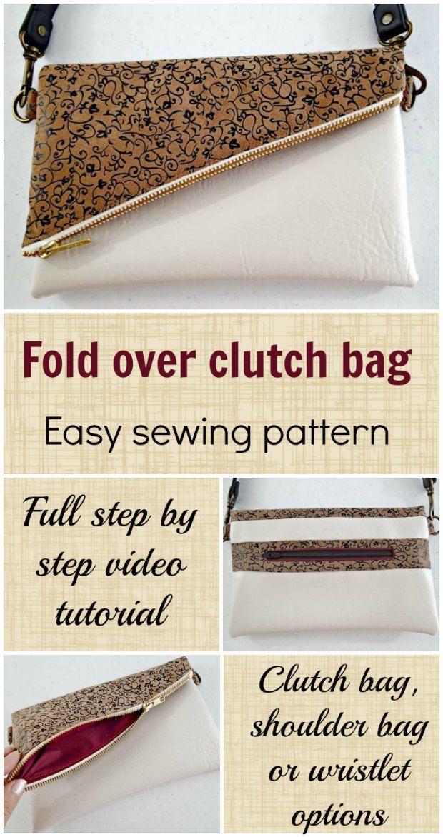 video tutorial y el patrón de costura de cómo hacer este pliegue lindo sobre bolsa de embrague, con el bolsillo trasero de la cremallera opcional y correa para el hombro / correa para la muñeca.