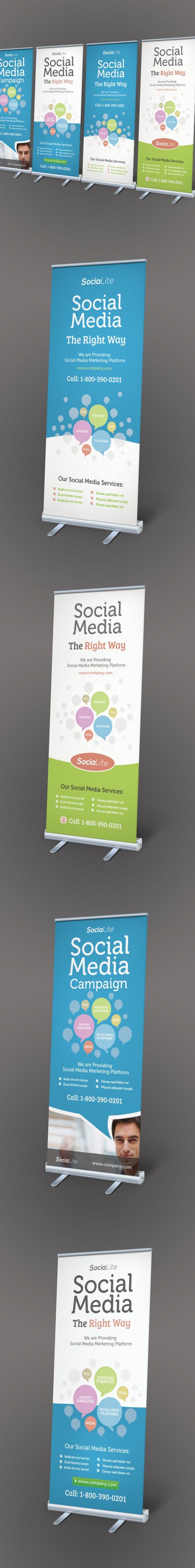 Social Media Marketing Roll-up Banners by Kinzi Wijaya, via Behance
