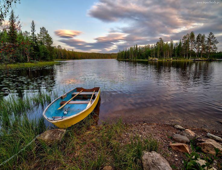 Jezioro, Brzeg, Kamienie, Łódka, Drzewa