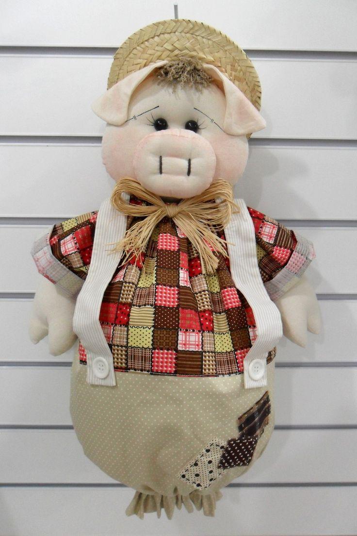 PUXA-SACO Porquinho <br> <br> Produzido em tecido 100% algodão em padrão aleatório, conforme disponibilidade do mercado.