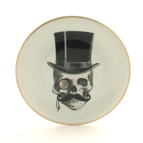 Listing is for a Lord-skull with a moustache wearing a monocle and a top hat on a vintage german altered sugar-white plate etsy!