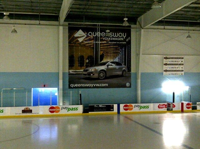 One of two giant sized 25' x 25' Banners we produced for the Mastercard Centre.