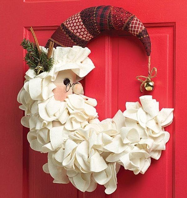 Las 25 mejores ideas sobre coronas navide as en pinterest - Adornos navidenos tela ...