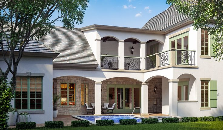 Avignon house plan french style house and courtyard for Sater com